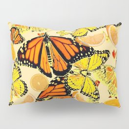 YELLOW MONARCH BUTTERFLY  & ORANGES MARMALADE Pillow Sham