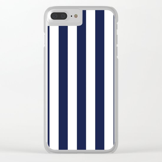 Maritime pattern- darkblue stripes on clear white- vertical Clear iPhone Case