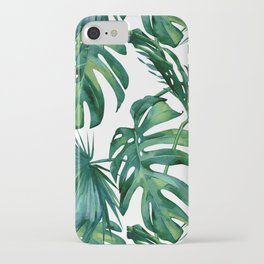 Classic Palm Leaves Tropical Jungle Green iPhone Case