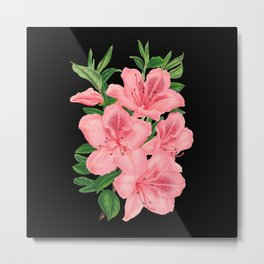 Vintage Victorian Pink Flowers on Black Metal Print