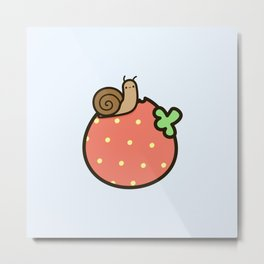 Cute snail on strawberry Metal Print