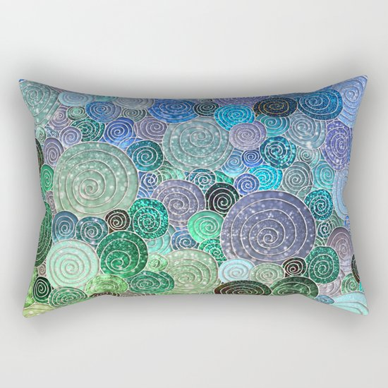 Abstract blue& green glamour glitter circles and polka dots for ladies Rectangular Pillow