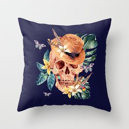 Tropical Latin Skull With Straw Hat Monstera Leaves South American Floral Kingdom Throw Pillow