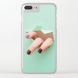the fingers from the hole Clear iPhone Case
