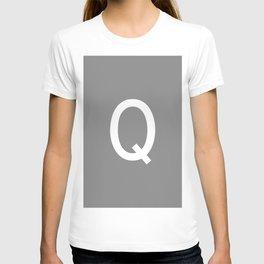 LETTER Q (WHITE-GREY) T-shirt