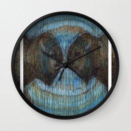 Buffalo Face Off Wall Clock