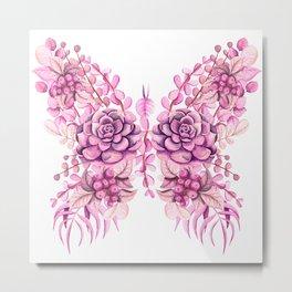 Flowery Pink Princess Butterfly Metal Print