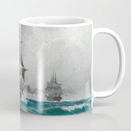 Vintage Sailing in Rough Waters Painting (1876) Coffee Mug