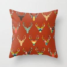 retro deer head russet Throw Pillow