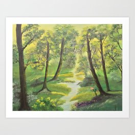 Happy sunny forest Art Print