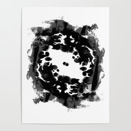 Enso black and white minimal watercolor japanese abstract painting zen art Poster