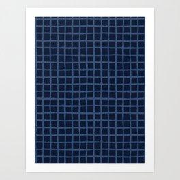 Hand Drawn Check Pattern Indigo Blue Grunge Art Print