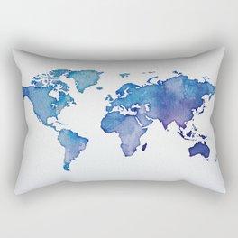 Blue World Map 02 Rectangular Pillow