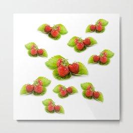 Three fresh strawberries fruits on green leaf Metal Print