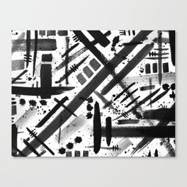 Abstract Black and White Watercolor Brush Lines Bold Modern Painting Design Canvas Print