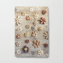 Dried fruits arranged forming flowers (4) Metal Print