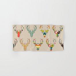 retro deer head on linen Hand & Bath Towel
