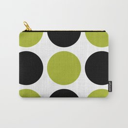 Mid Century Modern Polka Dot Pattern 9 Black and Chartreuse Carry-All Pouch