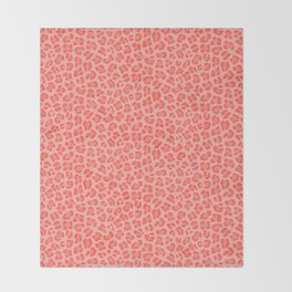 Leopard - Living Coral Throw Blanket