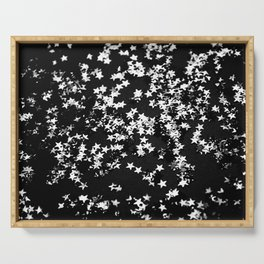 Black Night Glitter Stars #1 #shiny #decor #art #society6 Serving Tray