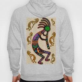 Kokopelli Rainbow Colors on Tribal Pattern  Hoody