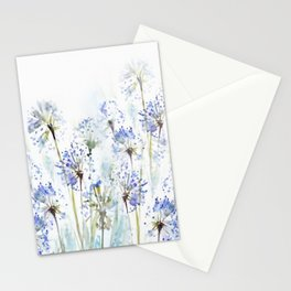 Blue summer flowers watercolor sketch 2 Stationery Cards