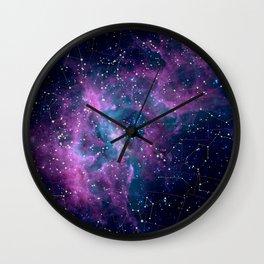 Pink nebula Wall Clock
