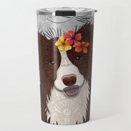 Tropical Brown Border Collie Girl Travel Mug