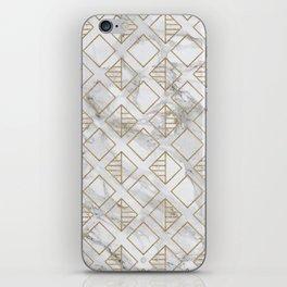 Marble and gold geometric iPhone Skin