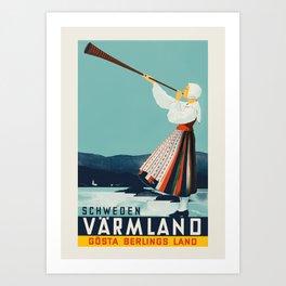 Värmland (Sweden) - Swedish vintage travel poster by Anders Beckman, 1936 Art Print