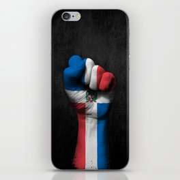 Dominican Flag on a Raised Clenched Fist iPhone Skin