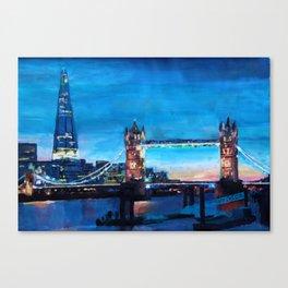 London Tower Bridge and The Shard at Dusk Canvas Print