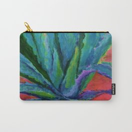 IMPRESSIONIST TURQUOISE BLUE DESERT AGAVE CACTI Carry-All Pouch