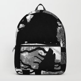 WOLF AND MOON IN BLACK AND WHITE Backpack