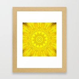 Yellow Mandala Explosion Framed Art Print