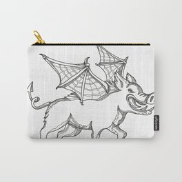 Winged Wild Boar Doodle Art Carry-All Pouch
