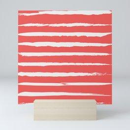 Irregular Hand Painted Stripes Coral Red Mini Art Print