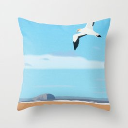 The Gannet and Bass Rock Throw Pillow