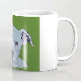 Pit Bull Terrier Puppy Portrait on Green Coffee Mug