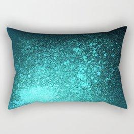 Vibrant Aqua and Black Spray Paint Splatter Rectangular Pillow