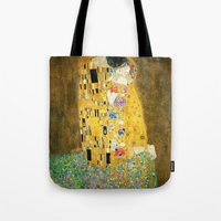 gustav klimt Tote Bags featuring Gustav Klimt The Kiss by Art Gallery