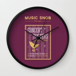 Hipster Concert Posters — Music Snob Tip #421 Wall Clock
