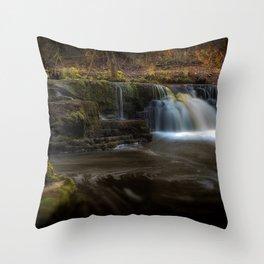 Afon Pyrddin waterfall Pontneddfechan Throw Pillow