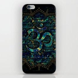Namaste Word Art in Lotus with OM symbol iPhone Skin