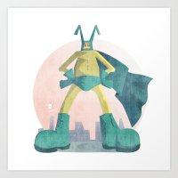 super hero Art Prints featuring Super Hero by J.M. Benga