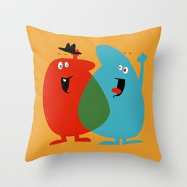 Hello Old Chum | Illustration of Friendship Throw Pillow
