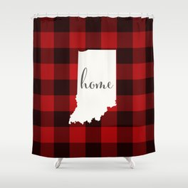 Indiana is Home - Buffalo Check Plaid Shower Curtain