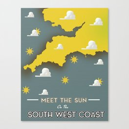 Meet the sun on the South West coast. Canvas Print