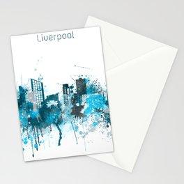 Liverpool United Kingdom Monochrome Blue Skyline Stationery Cards