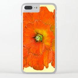 ORANGE DOUBLE  HOLLYHOCK FLOWERS YELLOW GARDEN Clear iPhone Case